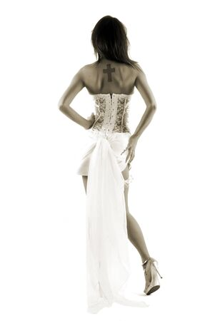 beatifull bride from the back  Stock Photo