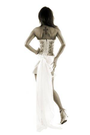 novia de hermoso desde la parte trasera