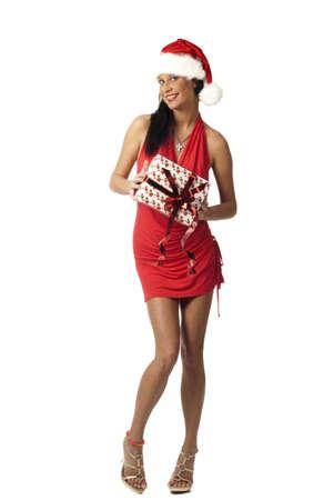 hermosa dama en regalo de explotaci�n rojo