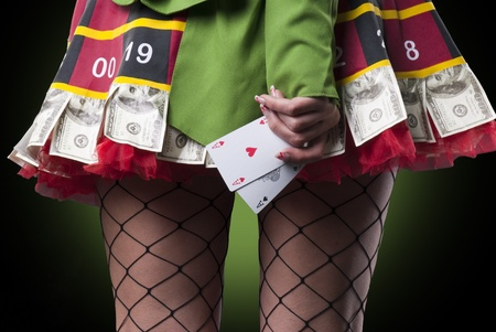 Sexy lady with 2 aces