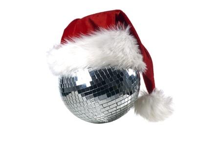 Shiny disco ball with christmas hat Stock Photo