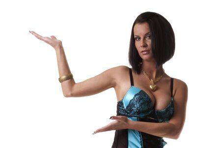 Sexy lady hermosa muestra su producto Foto de archivo