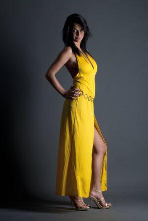 Beautiful lady in yellow dress