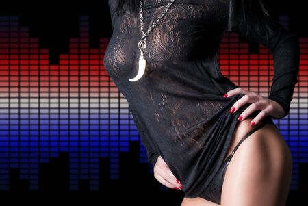 Sexy beautiful body over equalizers Stock Photo