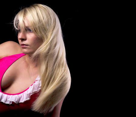 Beautiful blonde over black