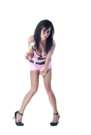 Chica sexy con una golosina Foto de archivo