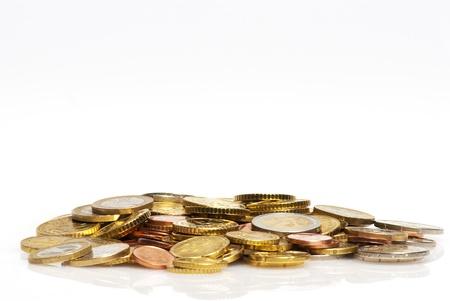 Mont�n de monedas de euro Foto de archivo