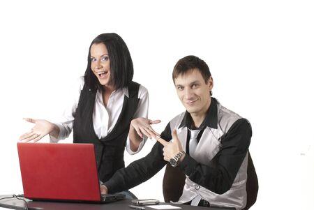 Dos empresarios sentado con port�til Foto de archivo