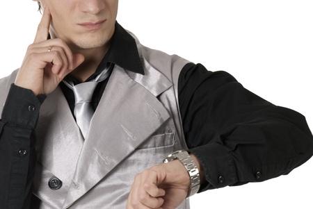 businessman worried, cheking time Stock Photo