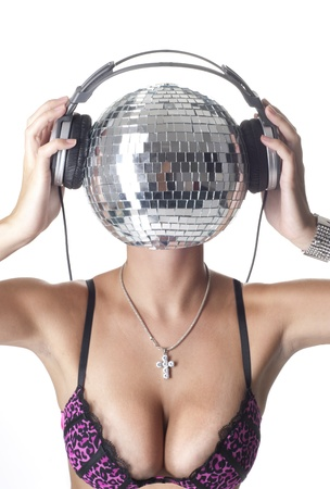 Sexy lady with a discoball head photo
