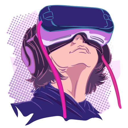 illustration vector purple cyberpunk man male boy wear vr gear google Illustration