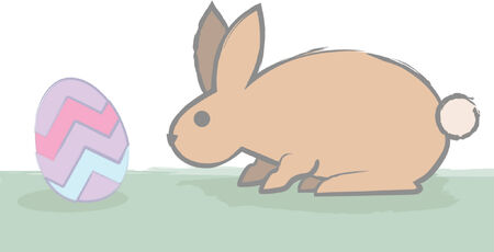 A cautious easter bunny checks out an easter egg by sniffing. Vector