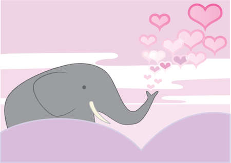 An Elephant is in love and creates a shower of hearts Vector