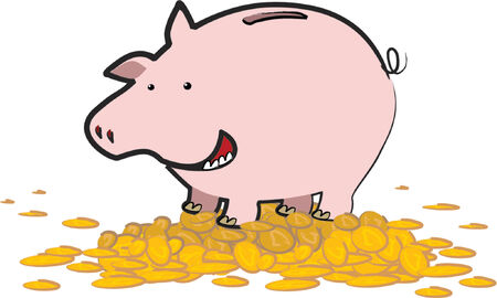 A happy piggy bank stands upon a mountain of gold coins Vector