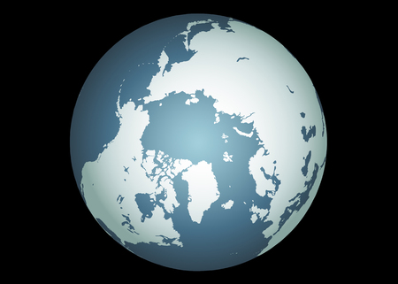 climate change: Arctic (Vector). Accurate map of the arctic. Mapped onto a globe. Includes greenland, iceland, baffin island, and all the other islands of the far north.