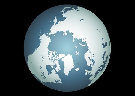 Arctique (Vector). Précise la carte de l'Arctique. Mappé sur un globe. Y compris le Groenland, l'Islande, l'île de Baffin, et tous les autres îles de l'Extrême-Nord. Vecteurs