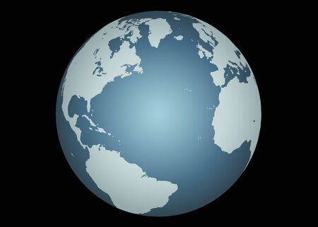 mapped: Atlantic Ocean(Vector). Accurate map of the North Atlantic. Mapped onto a globe. Includes many small islands, lakes, etc