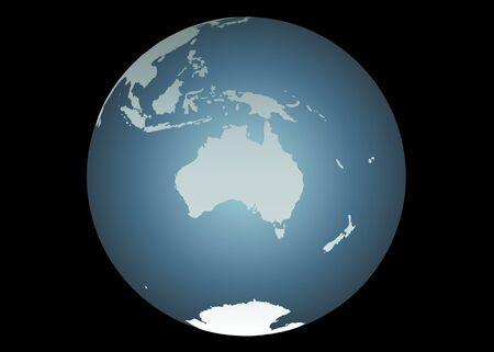 Nuova Guinea: Australia (Vector). Mappa accurata di Australia, Sud-Est Asia, Nuova Zelanda. Mappate su un globo. Include Nuova Guinea, Filippine, Antartide, Nuova Caledonia, isole minori ecc