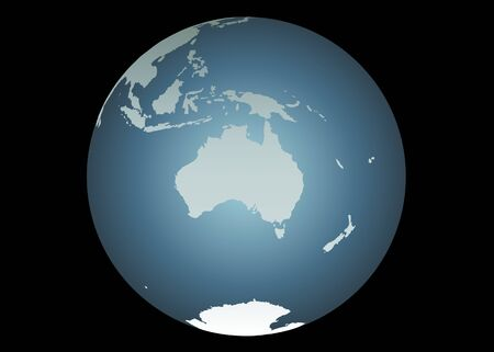 indonesien: Australien (Vector). Genaue Karte von Australien, S�d-Ost-Asien, Neuseeland. Dann auf einem Globus. Eingeschlossen sind-Neuguinea, Philippinen, Antarktis, Neukaledonien, kleineren Inseln usw.  Illustration