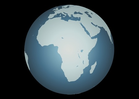 mapped: Africa (Vector). Accurate map of Africa. Mapped onto a globe. Includes the large lakes, Madagascar. Europe and Middle East to the North.