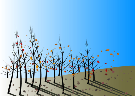 stirred: Autumn leaves fall and are stirred by the wind on a clear blue day Illustration