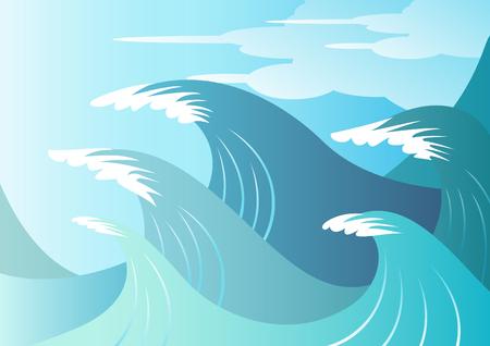 big wave: Enormes olas de surf azul a punto de romper