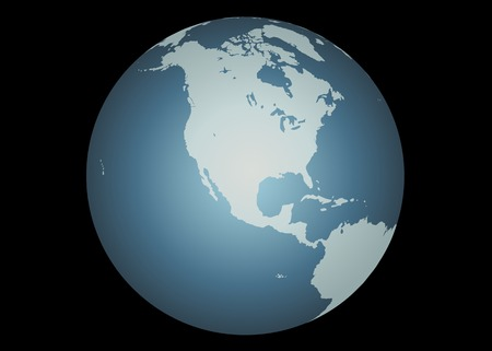 mapped: North America (Vector). Accurate map of North America. Mapped onto a globe. Includes Canada, USA, Mexico, Hawaii, Aleutians. Includes all the large lakes