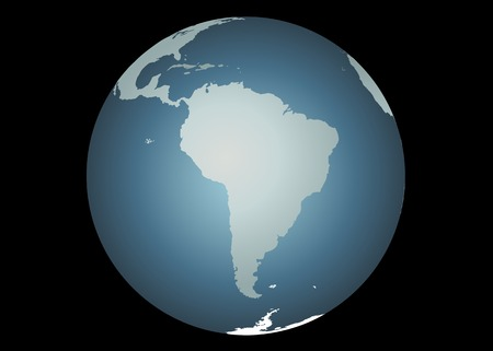 mapped: South America (Vector). Accurate map of South America. Mapped onto a globe. Includes Galapagos, falklands,  Illustration