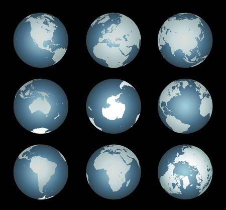 antartide: Continenti mondo (Vector). Mappa accurata su un globo. Include Antartide, Artico, Atlantico. Dettagli includono piccola isola catene, laghi e mari.  Vettoriali