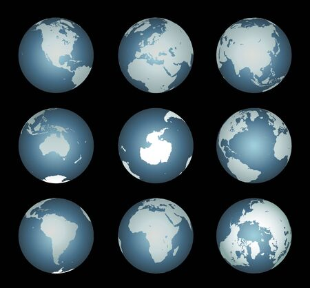 seas: World Continents(Vector). Accurate map onto a globe. Includes Antarctica, Arctic, Atlantic. Details include small island chains, lakes and seas.