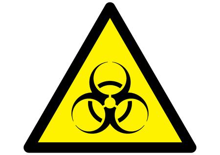 biohazard: Vector bio-hazard warning symbol on yellow caution sign