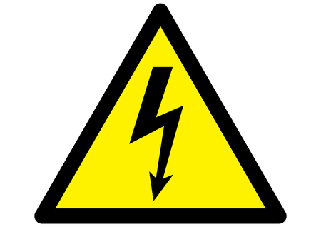 electrical safety: electricity Hazard symbol on warning sign