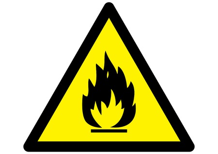 triangular warning sign: Flammable Fire Hazard warning symbol on yellow triangular sign Illustration