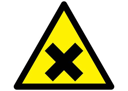 Harmful irritant symbol on triangular yellow sign with black edge Illustration