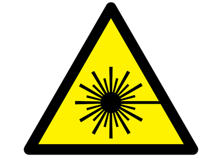 laser radiation: Symbol for Laser warning sign on yellow triangle.