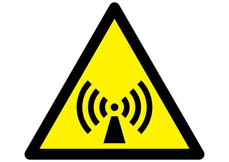 radiation symbol on triangular yellow sign Vector