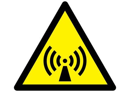 straling symbool op driehoekige gele teken Vector Illustratie