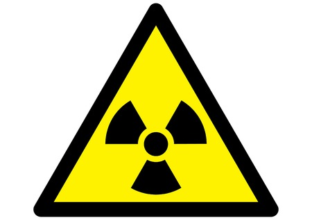 medical waste: radioactive nuclear warning symbol on yellow traingular sign