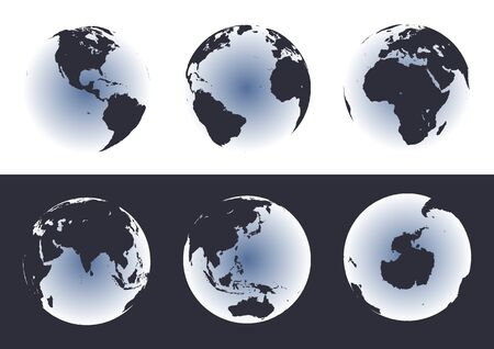 Accurate maps of the world on globes. Includes Antarctica. Also includes many islands - Hawaii, Aleutians, Galapagos, Maldives, Canary, etc. Lakes of the USA, Africa, Russia.  Illustration