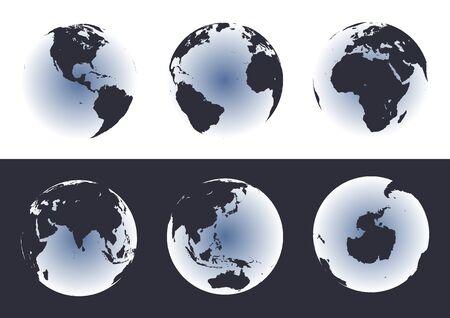 antartide: Programmi esatti del mondo sui globi. Include LAntartide. Inoltre include molte isole - Hawai, aleutians, galapagos, Maldives, canarino, ecc. Laghi degli S.U.A., Africa, Russia. Vettoriali