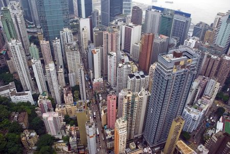 congested: view from a skyscraper of the busy city of Wan Chai Hong Kong