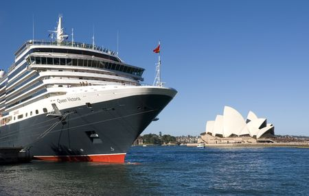 queens theatre: Cruise ship Queen Victoria of the cunard ship fleet docked in Sydney Harbour ( harbor) on a beautiful Blue Day , February 24th 2008. Stock Photo