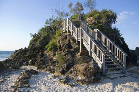 byron: Stairs on the headland in the afternoon light at the pass on Cape Byron, Byron Bay, easternmost point of Australia Stock Photo
