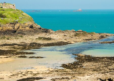 A view of the coast of Saint Malo of Brittany, France.