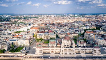 Beautiful Panorama Aerial view of Budapest Parlament