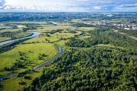 The valley of the Klyazma river in Vladimir, Russia the top view from the drone