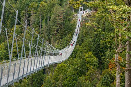 Suspension Bridge highline179 at Reutte between two hills in beautiful landscape Scenery of Alps, Tirol, Austria