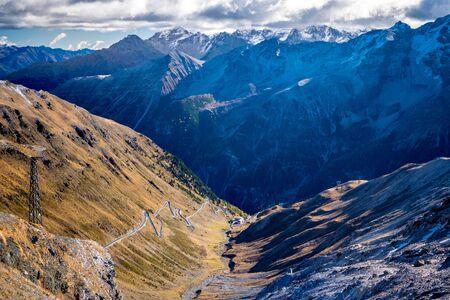 Passo Dello Stelvio mountain road, autumn