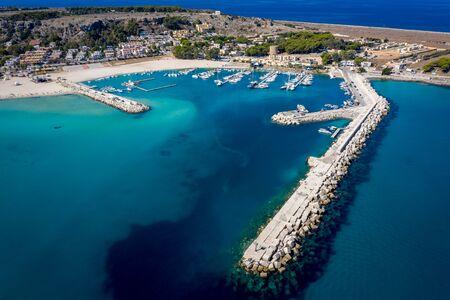 San vito lo Capo coast line tourist beach aerial view Reklamní fotografie