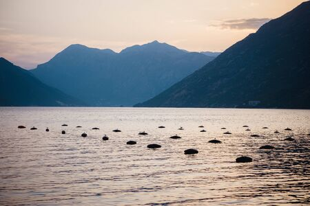 Oyster farms in the Kotor Bay, Montenegro, Kotor-Risan